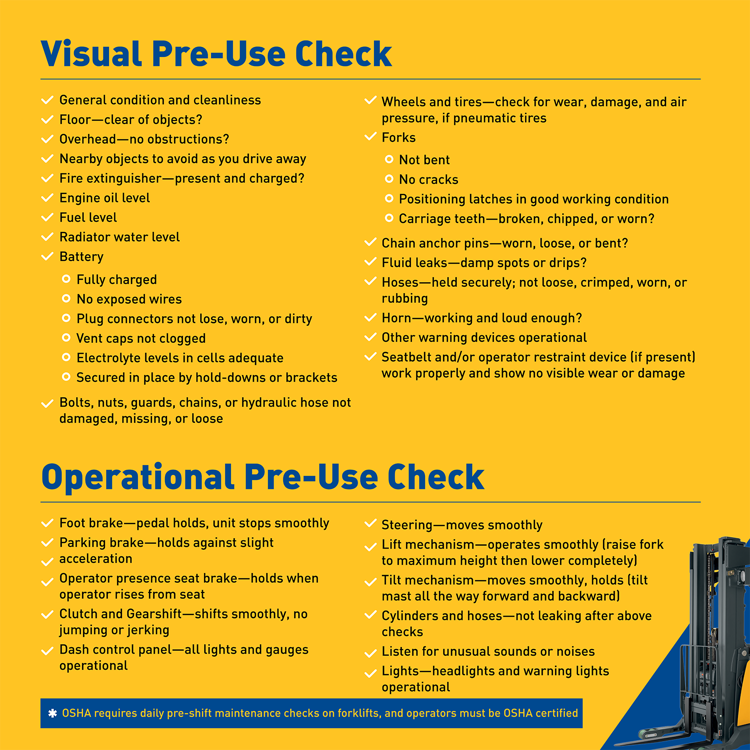 Check lists keep forklifts running smoothly atlantic lift the operator should carry out a visual check circle check before starting the forklift after completing the visual pre start check the operator should 1betcityfo Choice Image